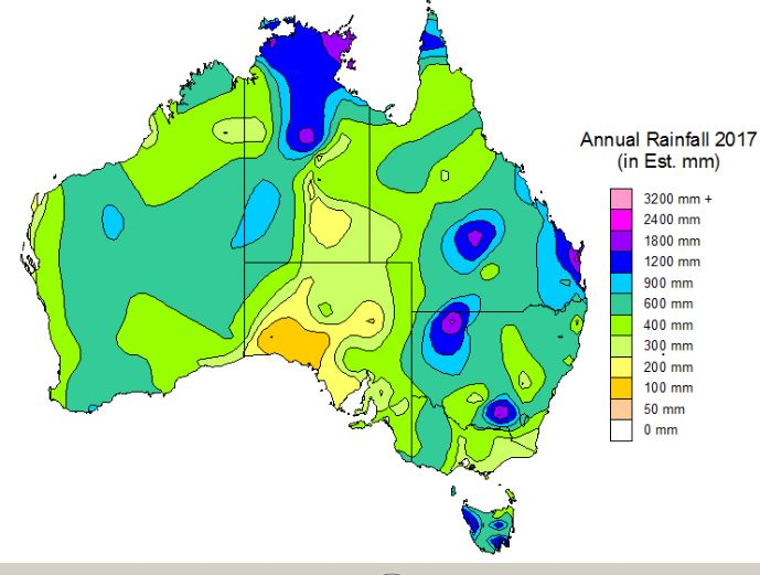 Yearly Rainfall Distribution for Australia, 2018-2025