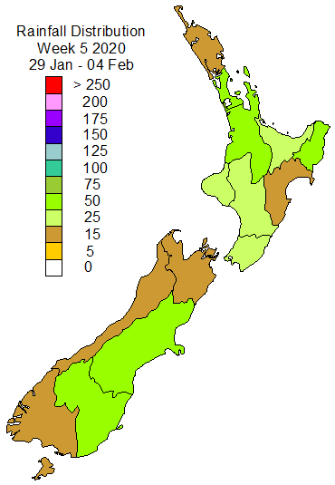 2020 Weekly Rain Distribution for NZ